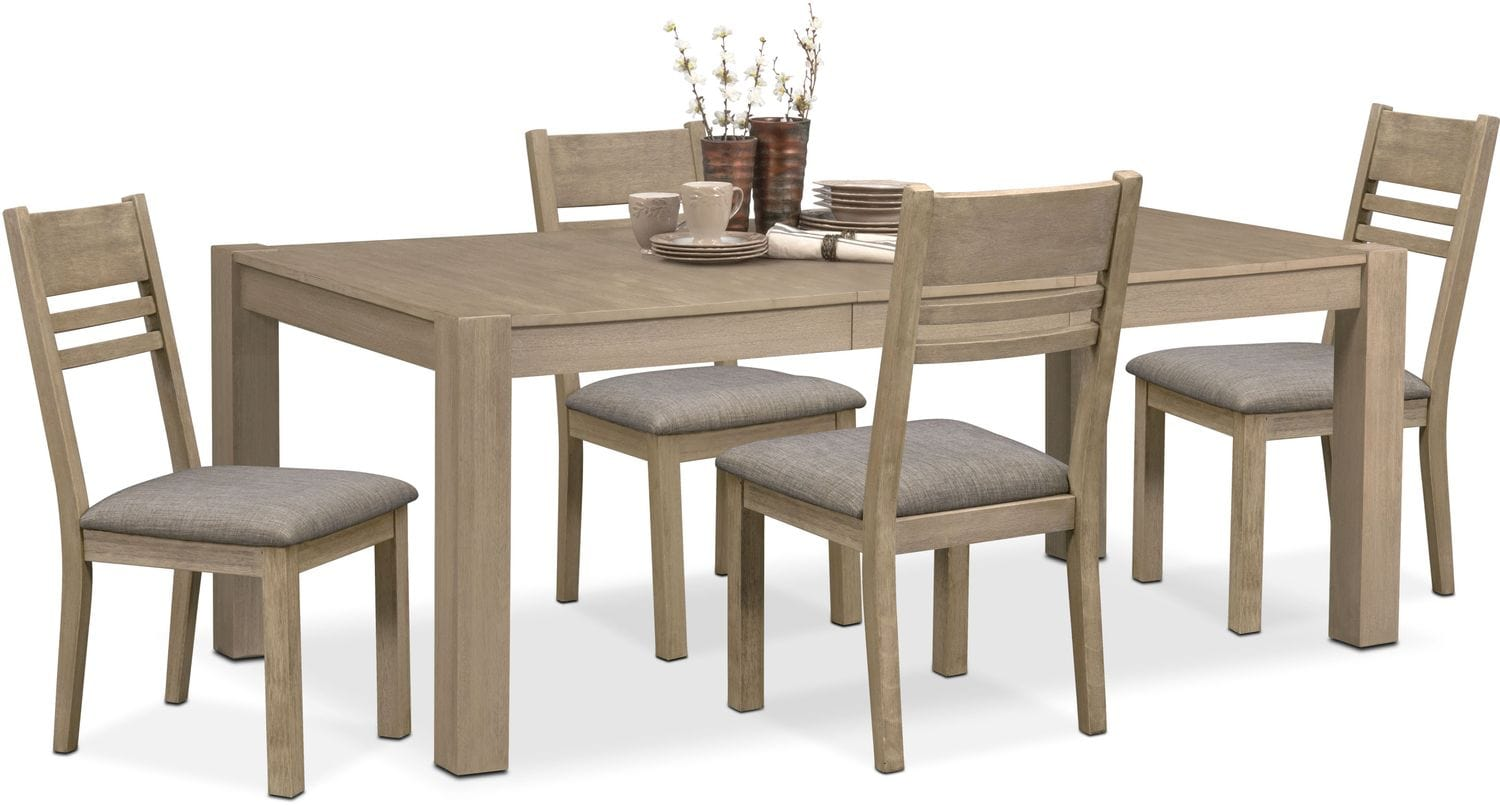 Dining Room Furniture - Tribeca Table and 4 Side Chairs - Gray