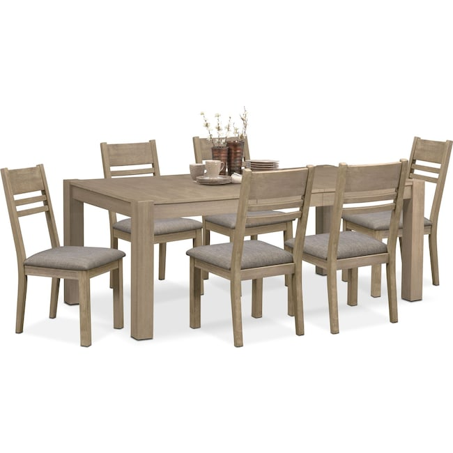Dining Room Furniture - Tribeca Table and 6 Side Chairs - Gray