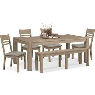 Tribeca Table, 4 Side Chairs and Bench - Gray