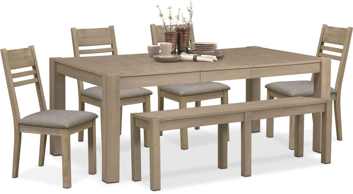 Wonderful Tribeca Table, 4 Side Chairs And Bench   Gray