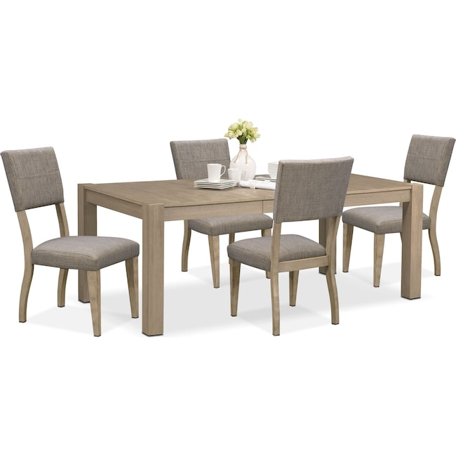 Dining Room Furniture - Tribeca Table and 4 Upholstered Side Chairs - Gray