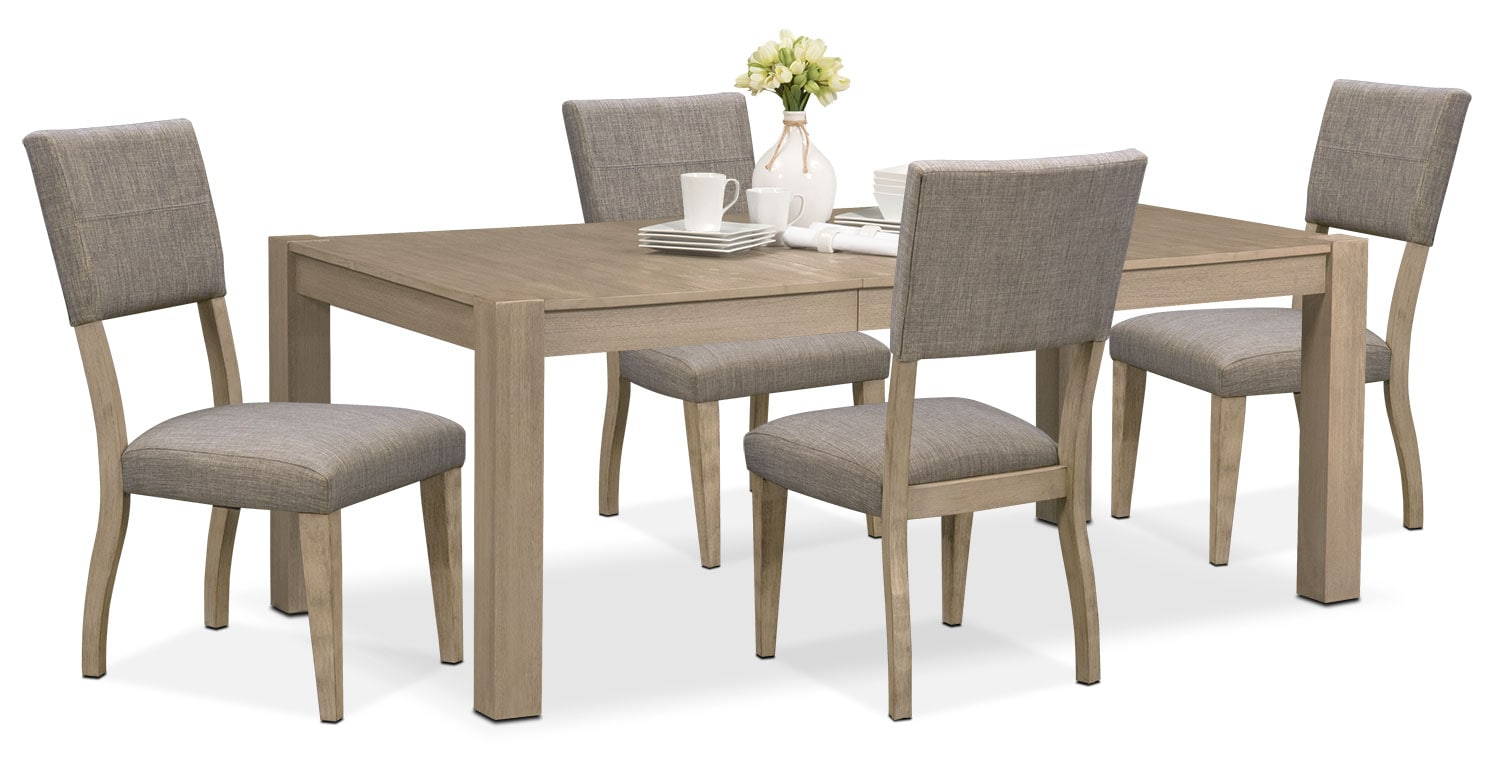 Dining Room Furniture   Tribeca Table And 4 Upholstered Side Chairs   Gray