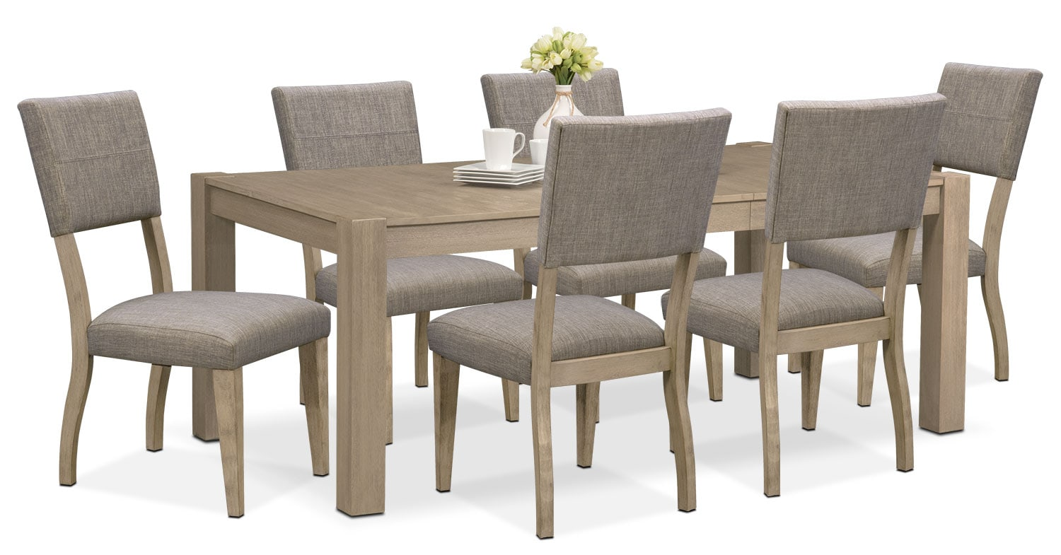 Dining Room Furniture - Tribeca Table and 6 Upholstered Side Chairs - Gray