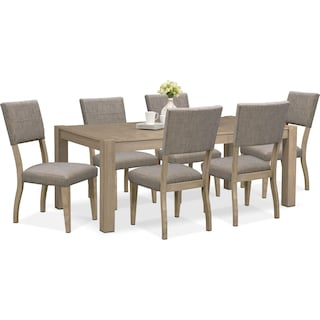 Tribeca Table and 6 Upholstered Side Chairs - Gray