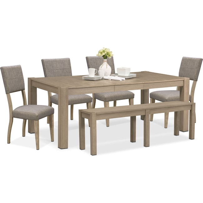 Dining Room Furniture - Tribeca Table, 4 Upholstered Side Chairs and Bench - Gray