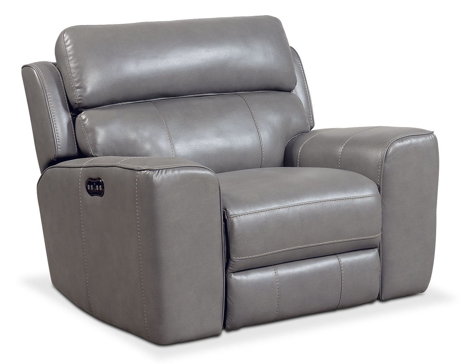 Living Room Furniture - Newport Power Recliner - Gray