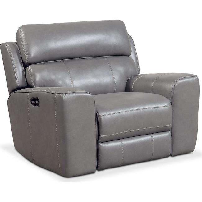 Living Room Furniture - Newport Power Recliner - Gray