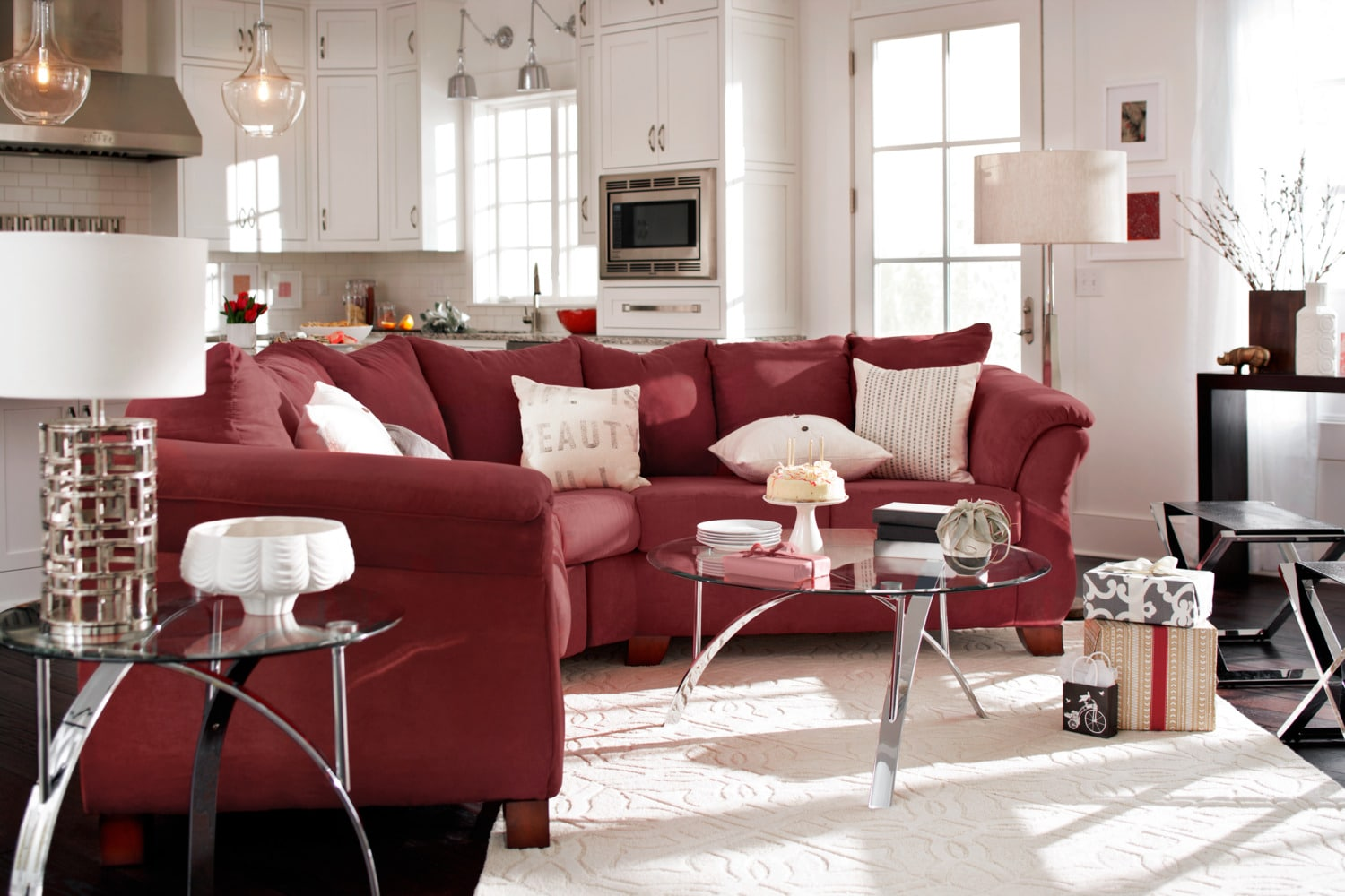 Red Living Room Furniture Adrian Red 2 Piece Sectional Red Value City Furniture