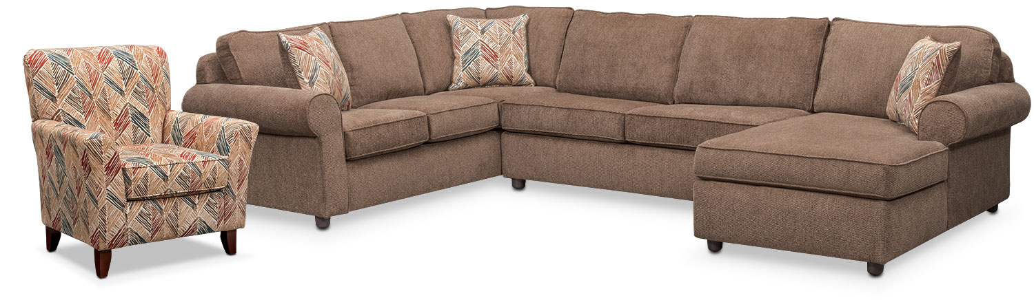 Living Room Furniture - Lakelyn 3-Piece Sectional with Right-Facing Chaise and Accent Chair - Cocoa