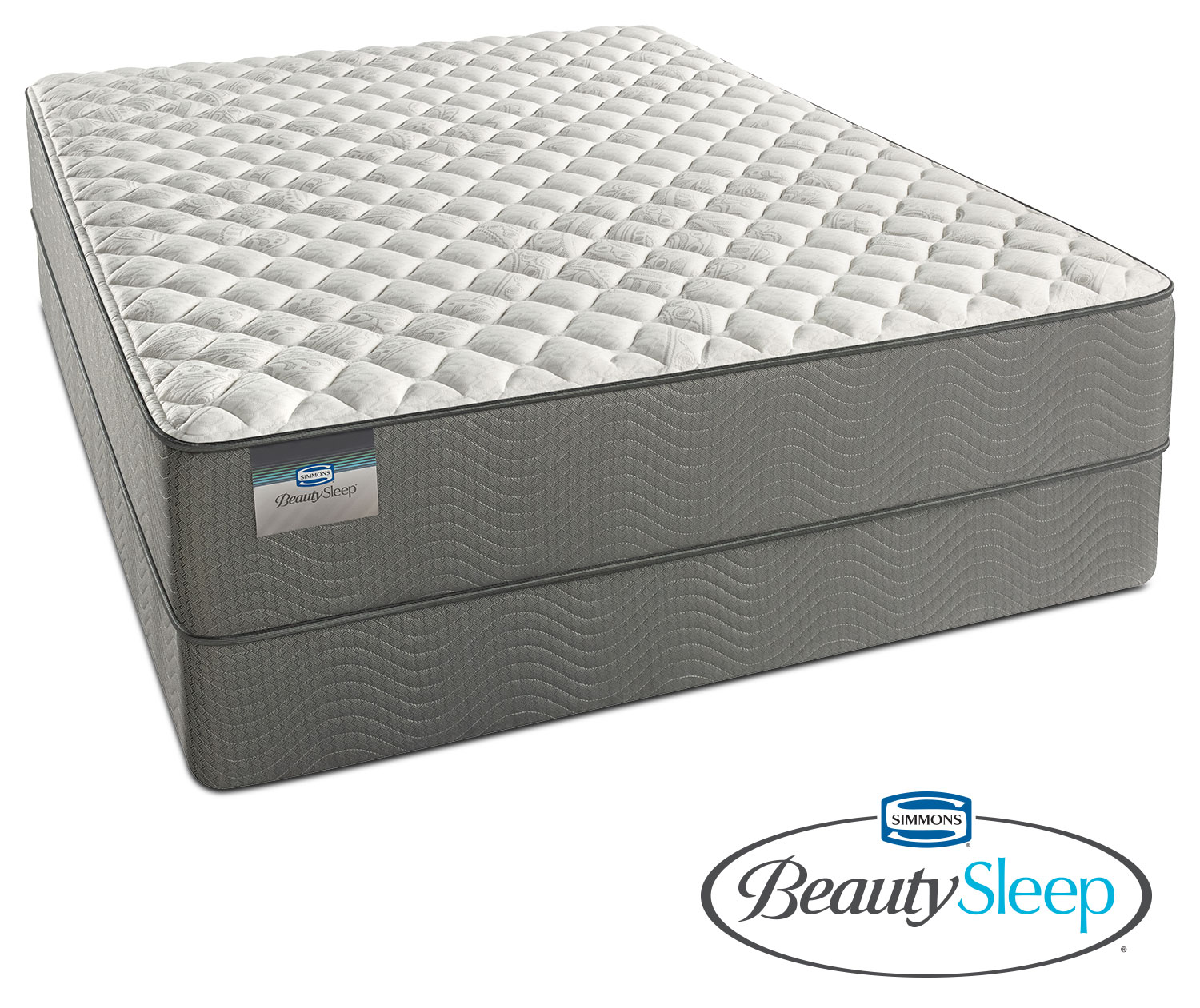 Mattresses and Bedding - Alpine White Firm King Mattress and Split Low-Profile Foundation Set