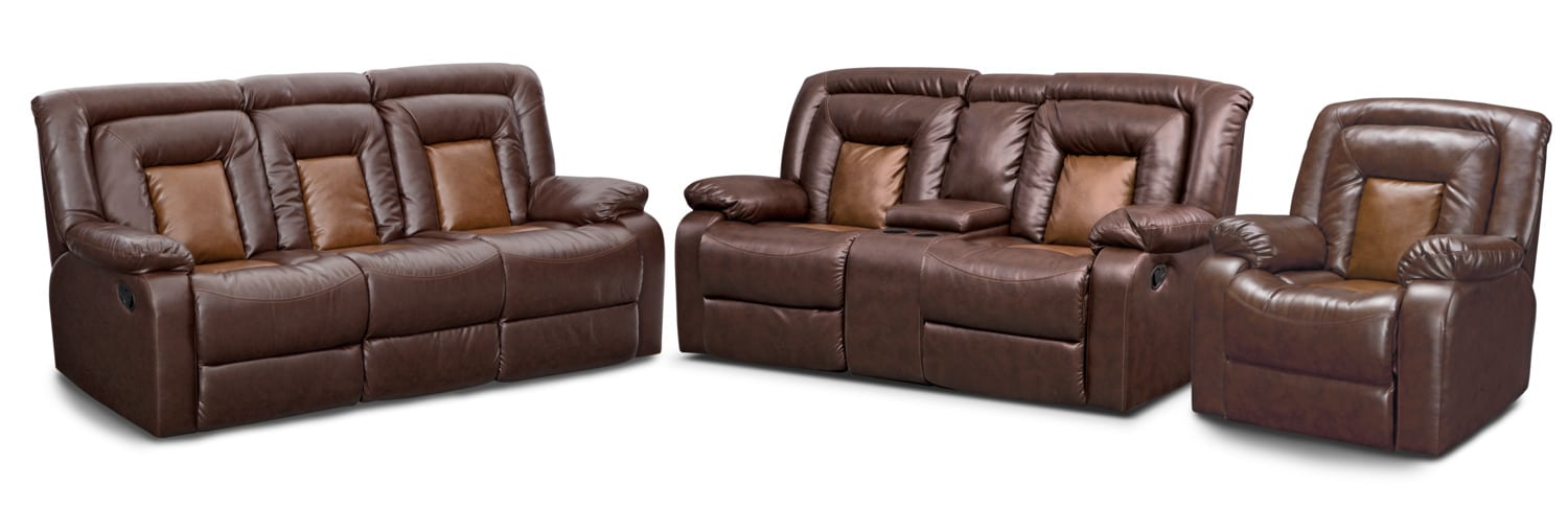 Living Room Furniture - Mustang Dual-Reclining Sofa, Dual-Reclining Loveseat and Recliner Set - Brown