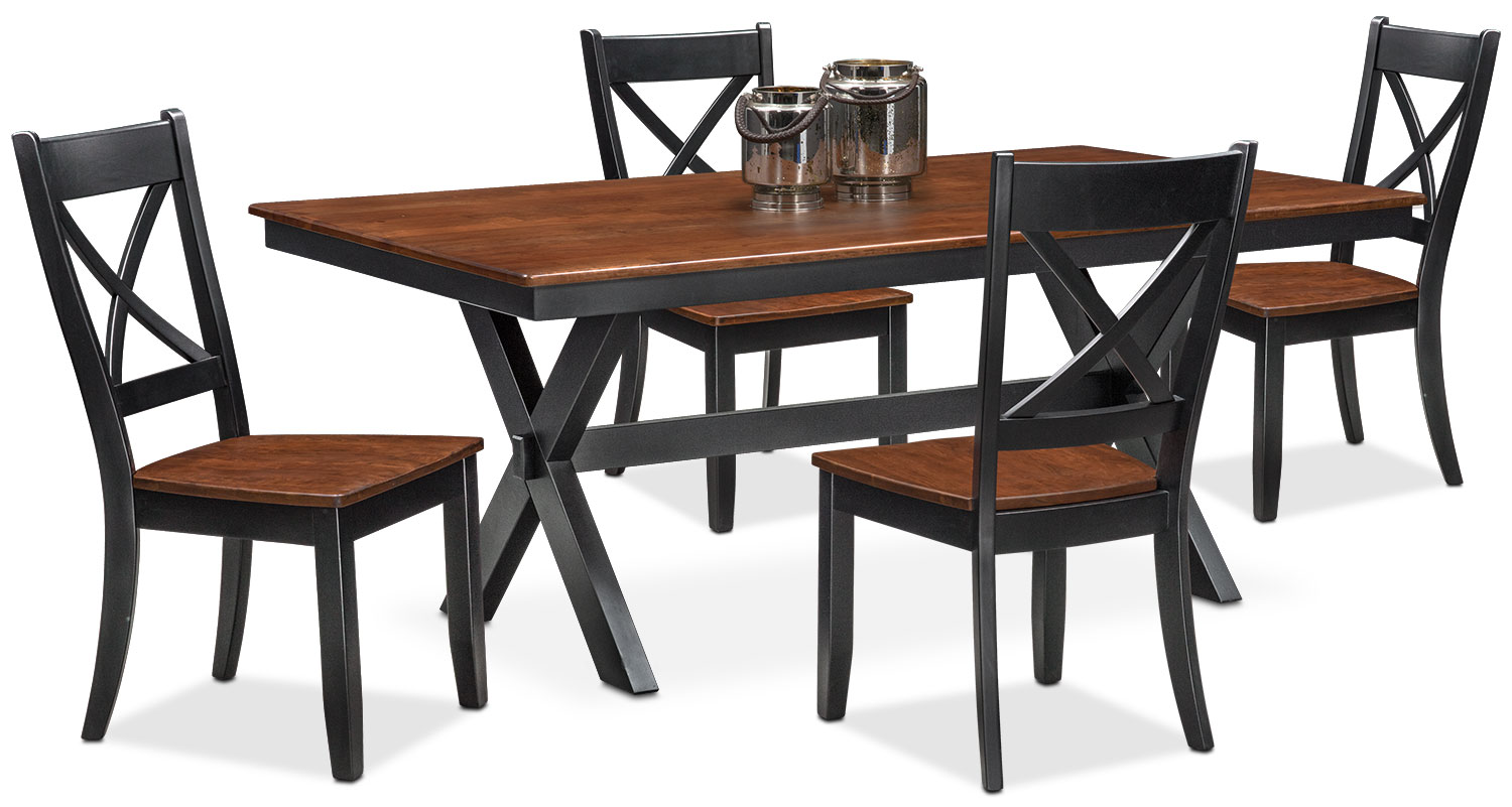 Nantucket Trestle Table and 4 Side Chairs - Black and Cherry