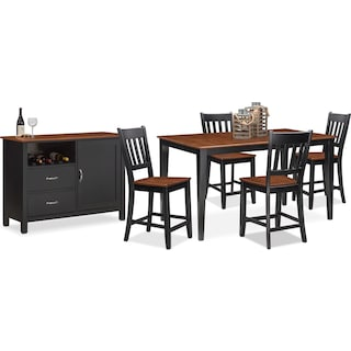 The Nantucket Counter-Height Dining Collection - Black and Cherry