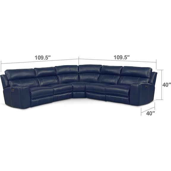 Living Room Furniture - Newport 5-Piece Power Reclining Sectional with 3 Reclining Seats - Blue
