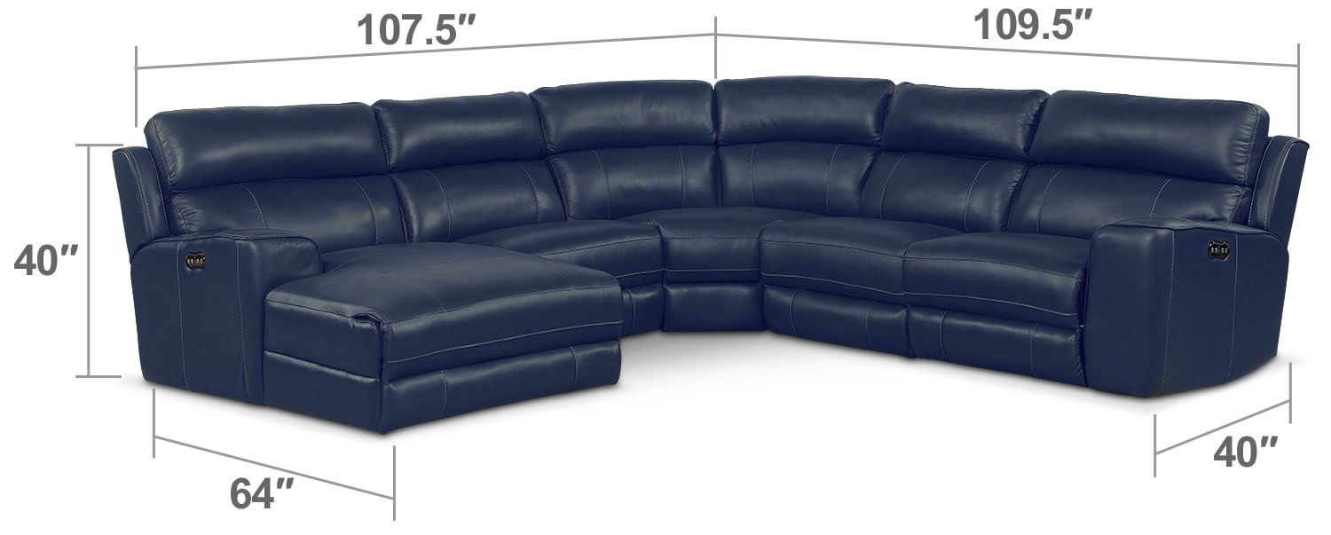 Living Room Furniture - Newport 5-Piece Power Reclining Sectional with Left-Facing Chaise and 1 Recliner - Blue
