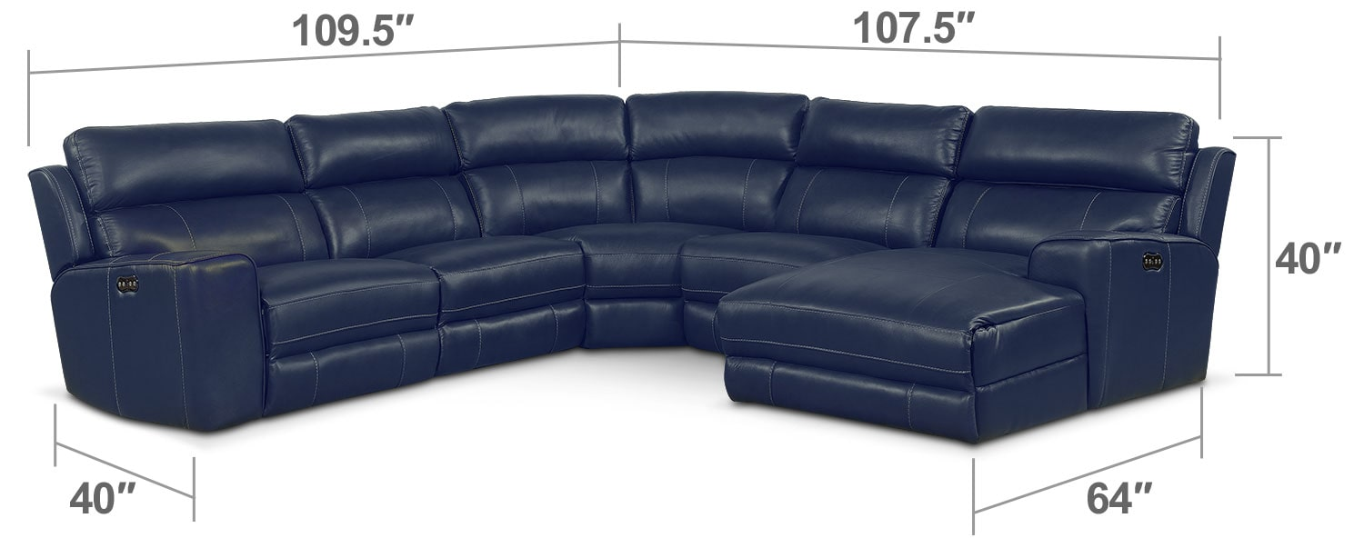 Living Room Furniture - Newport 5-Piece Power Reclining Sectional with Right-Facing Chaise and 2 Recliners- Blue