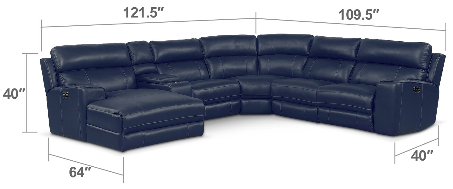 Living Room Furniture - Newport 6-Piece Power Reclining Sectional with Left-Facing Chaise and 1 Recliner - Blue