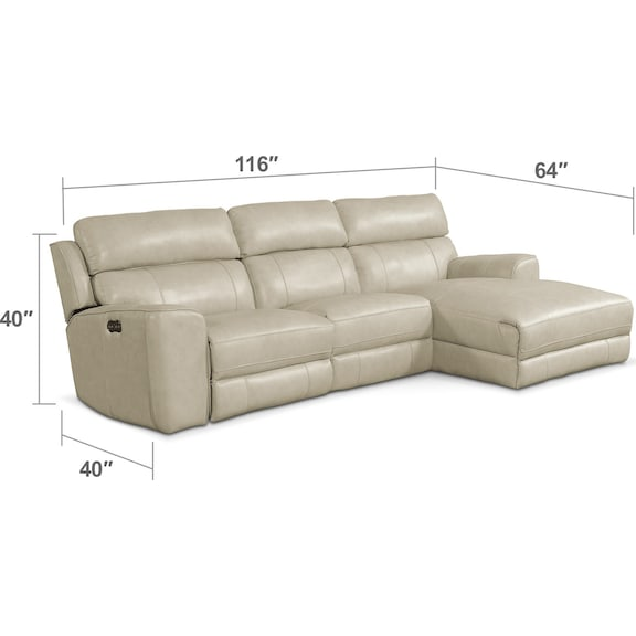 Living Room Furniture - Newport 3-Piece Power Reclining Sectional with Right-Facing Chaise - Cream