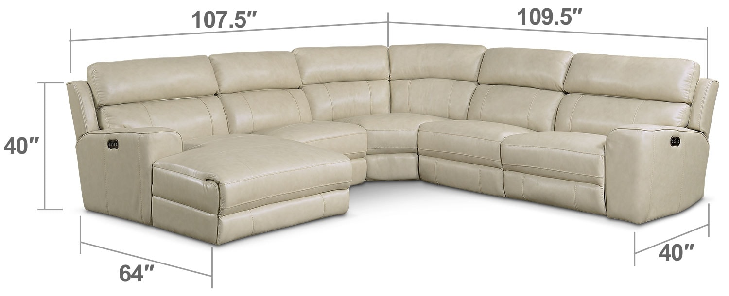 Living Room Furniture - Newport 5-Piece Power Reclining Sectional with Left-Facing Chaise and 1 Recliner - Cream
