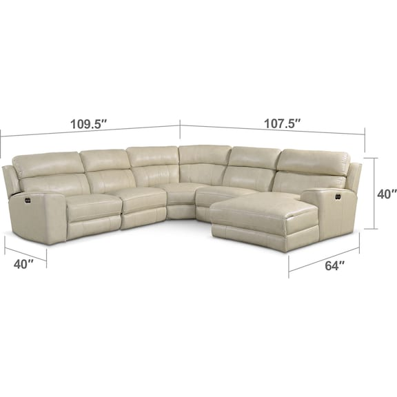 Living Room Furniture - Newport 5-Piece Power Reclining Sectional with Right-Facing Chaise and 2 Recliners - Cream