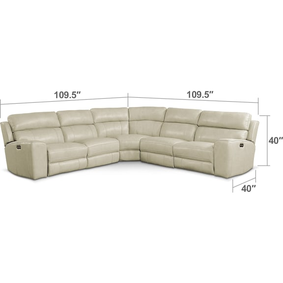 Living Room Furniture - Newport 5-Piece Power Reclining Sectional with 2 Reclining Seats - Cream