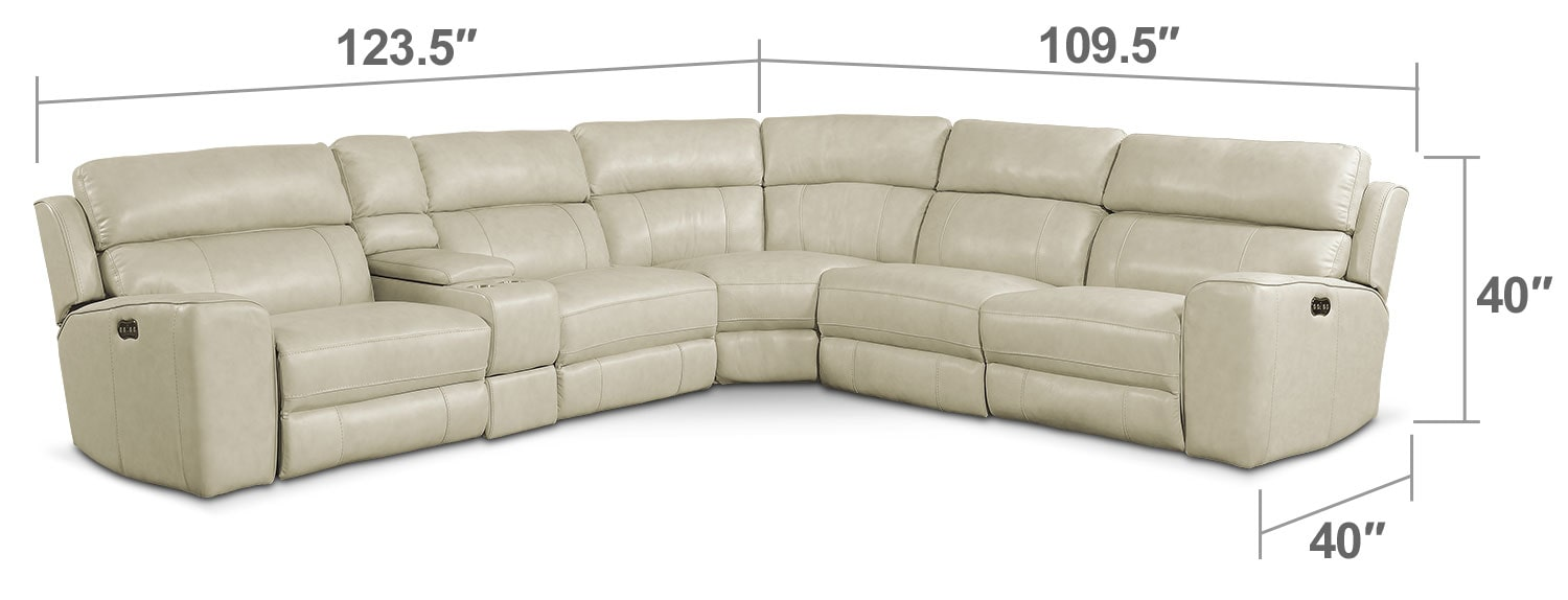 Living Room Furniture - Newport 6-Piece Power Reclining Sectional with 2 Reclining Seats - Cream