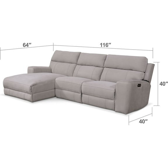 Living Room Furniture - Newport 3-Piece Power Reclining Sectional with Left-Facing Chaise - Light Gray