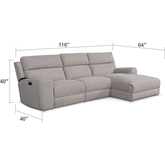 Newport 3 Piece Power Reclining Sectional With Right