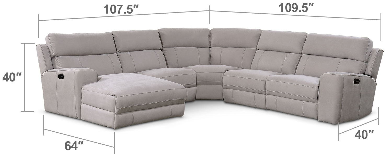 Living Room Furniture - Newport 5-Piece Power Reclining Sectional with Left-Facing Chaise and 1 Recliner - Light Gray