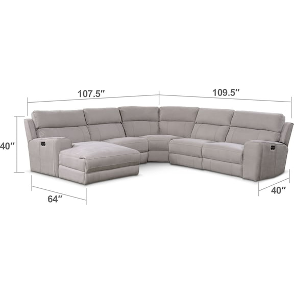 Living Room Furniture - Newport 5-Piece Power Reclining Sectional with Left-Facing Chaise and 2 Recliners - Light Gray