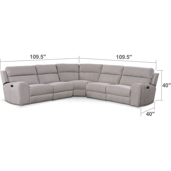 Living Room Furniture - Newport 5-Piece Power Reclining Sectional with 2 Reclining Seats - Light Gray