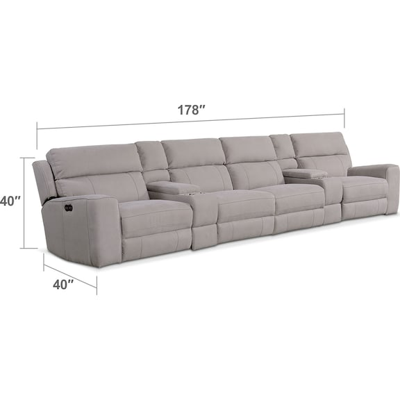 Living Room Furniture - Newport 6-Piece Power Reclining Sectional with 4 Reclining Seats - Light Gray