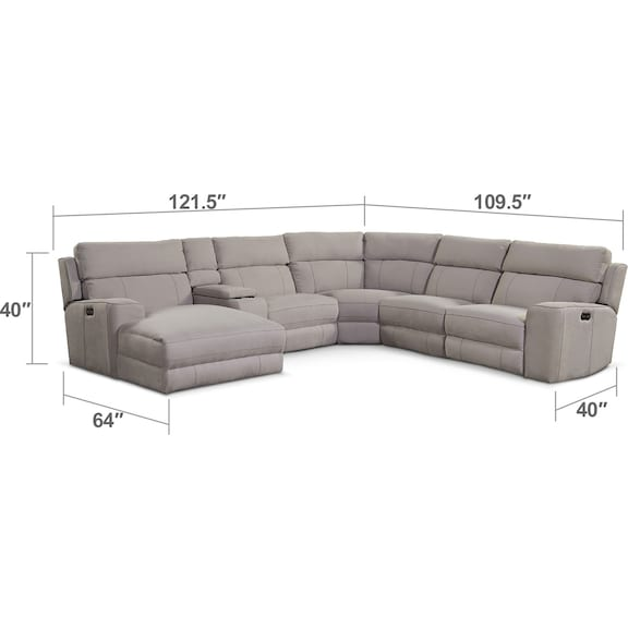 Living Room Furniture - Newport 6-Piece Power Reclining Sectional with Left-Facing Chaise and 2 Recliners - Light Gray