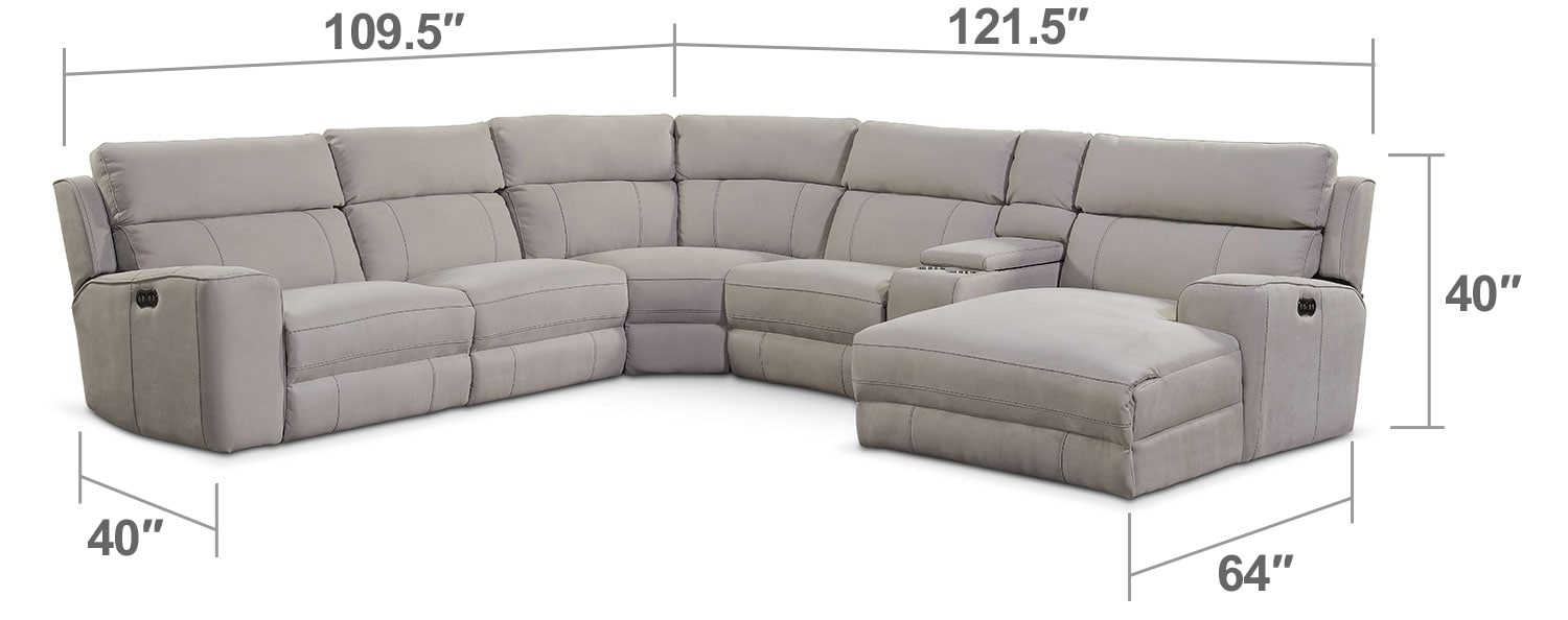 Living Room Furniture - Newport 6-Piece Power Reclining Sectional with Right-Facing Chaise and 2 Recliners - Light Gray