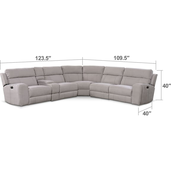 Living Room Furniture - Newport 6-Piece Power Reclining Sectional with 2 Reclining Seats - Light Gray