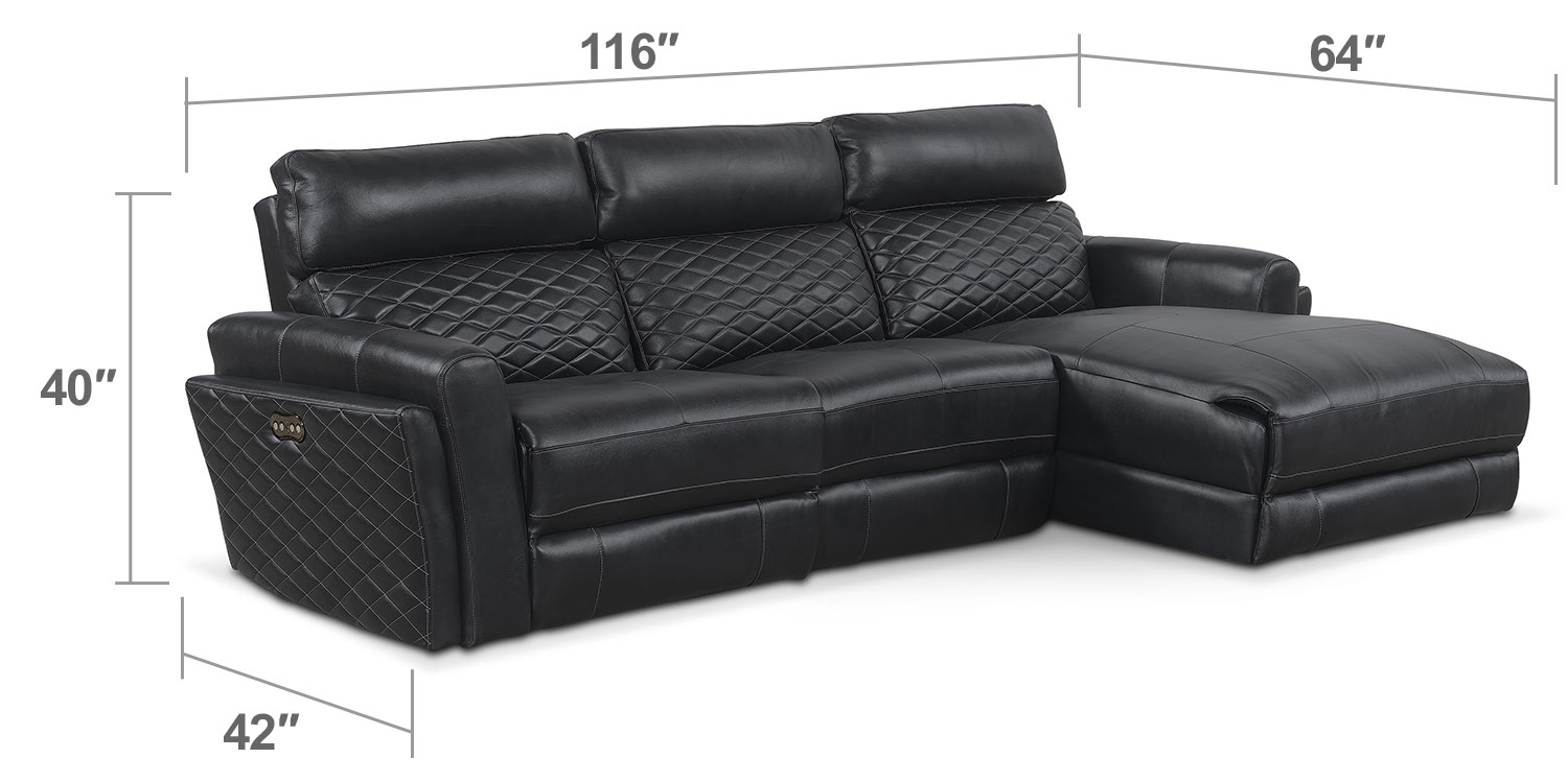 Living Room Furniture - Catalina 3-Piece Power Reclining Sectional with Right-Facing Chaise - Black