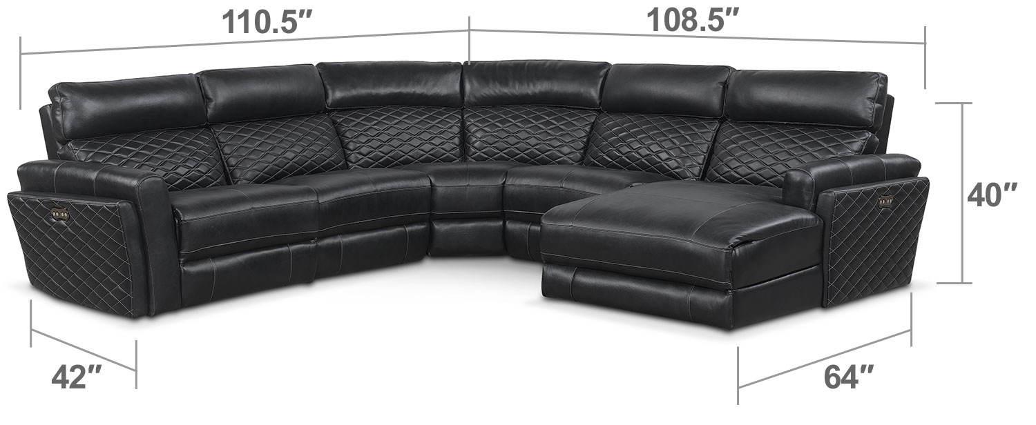 Living Room Furniture - Catalina 5-Piece Power Reclining Sectional with Right-Facing Chaise and One Recliner - Black