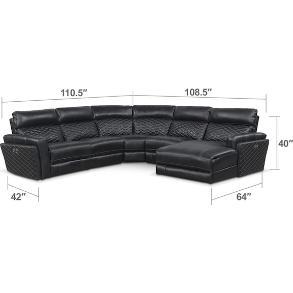 Living Room Furniture - Catalina 5-Piece Power Reclining Sectional with Right-Facing Chaise and 2 Recliners - Black