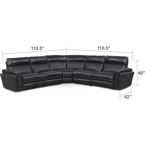 Living Room Furniture - Catalina 5-Piece Power Reclining Sectional with 3 Reclining Seats - Black