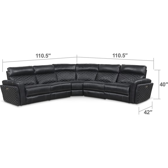 Living Room Furniture - Catalina 5-Piece Power Reclining Sectional with 2 Reclining Seats - Black