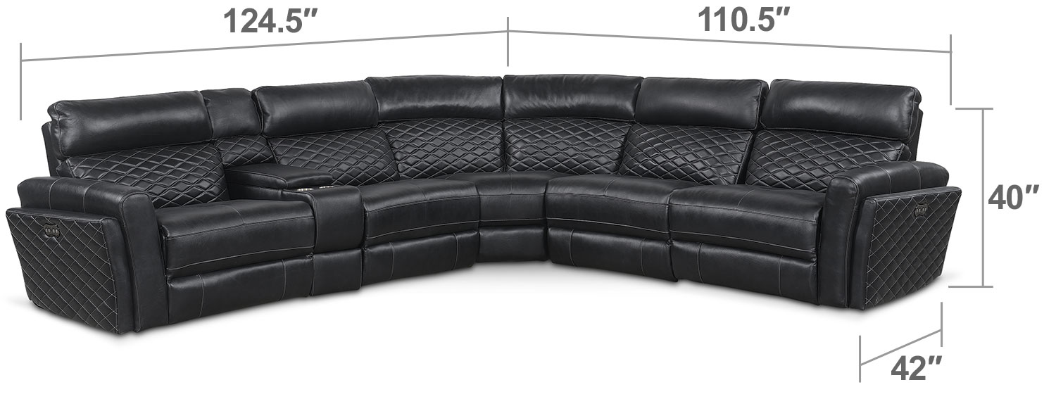 Living Room Furniture - Catalina 6-Piece Power Reclining Sectional with 3 Reclining Seats - Black