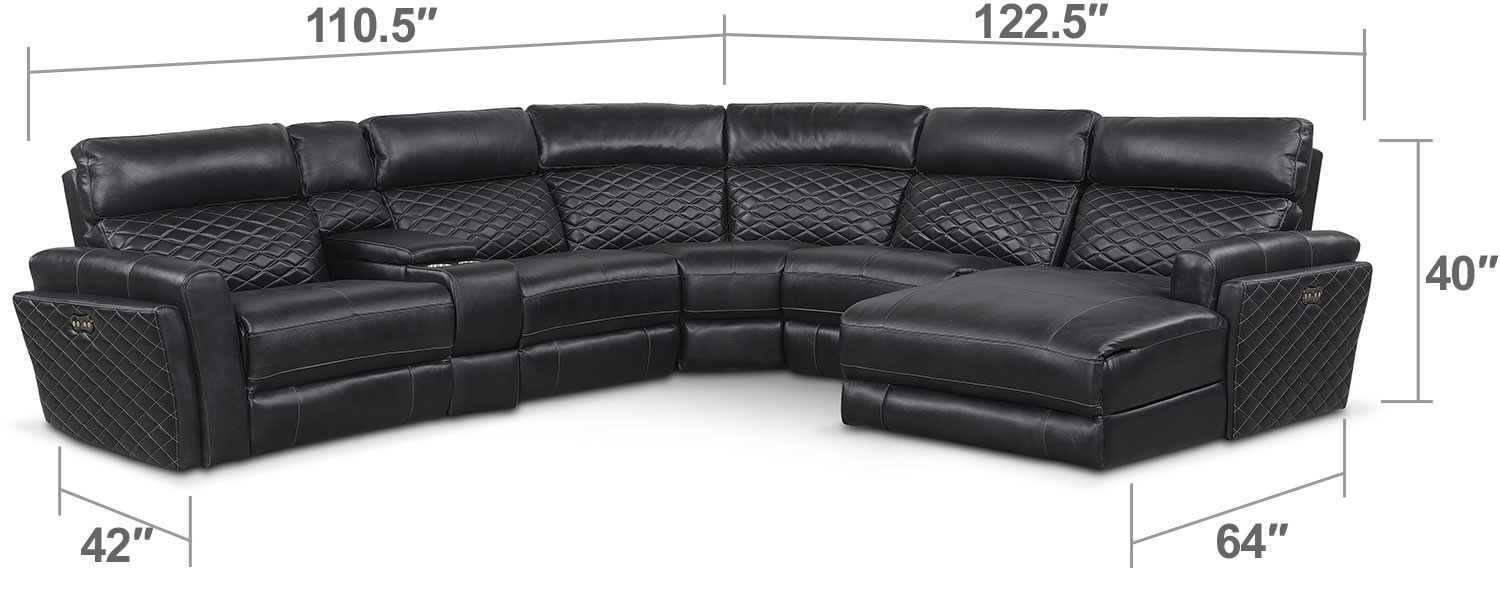 Living Room Furniture - Catalina 6-Piece Power Reclining Sectional with Right-Facing Chaise and 2 Recliners - Black