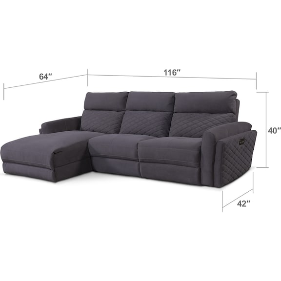 Living Room Furniture - Catalina 3-Piece Power Reclining Sectional with Left-Facing Chaise - Gray