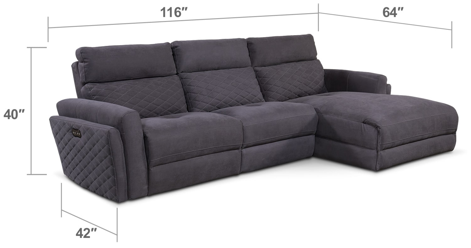 Living Room Furniture - Catalina 3-Piece Power Sectional with Right-Facing Chaise - Gray