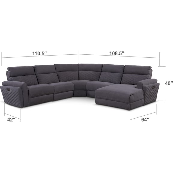 Living Room Furniture - Catalina 5-Piece Power Reclining Sectional with Right-Facing Chaise and 1 Recliner - Gray