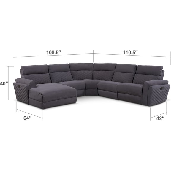 Living Room Furniture - Catalina 5-Piece Power Reclining Sectional with Left-Facing Chaise and 1 Recliner - Gray