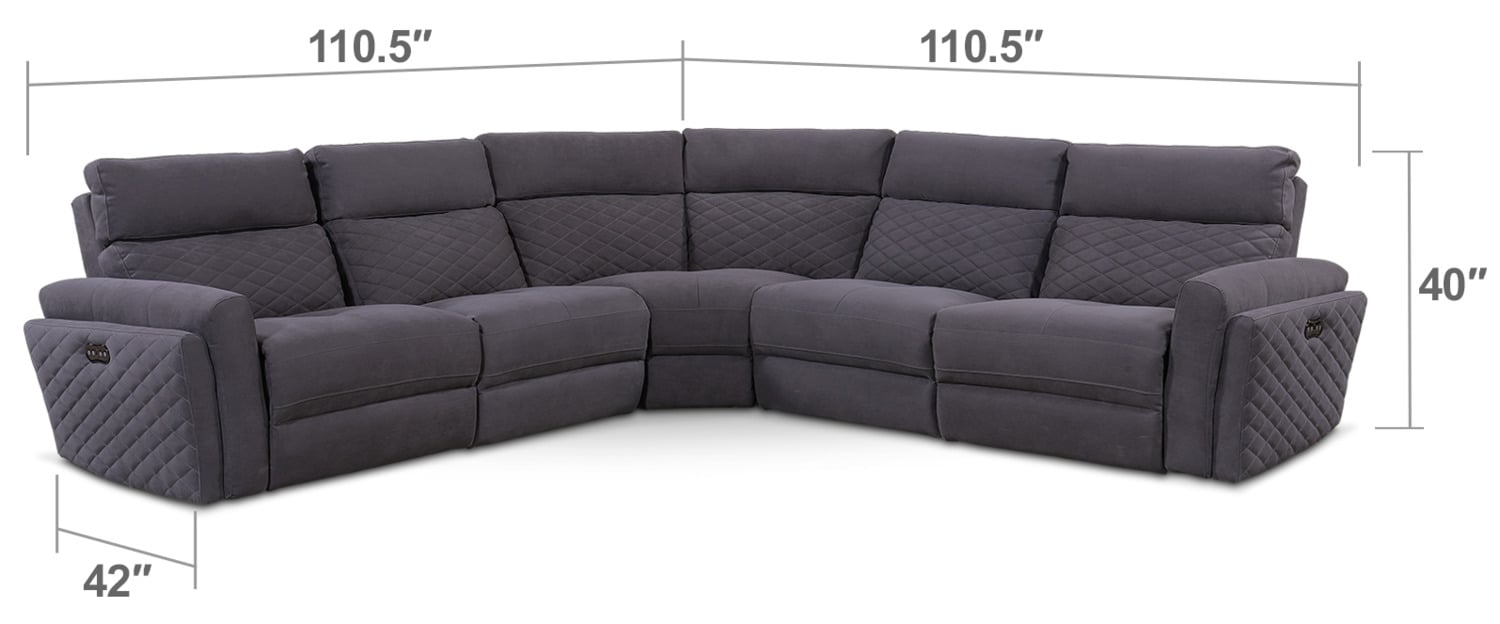 Living Room Furniture - Catalina 5-Piece Power Reclining Sectional with 3 Reclining Seats - Gray
