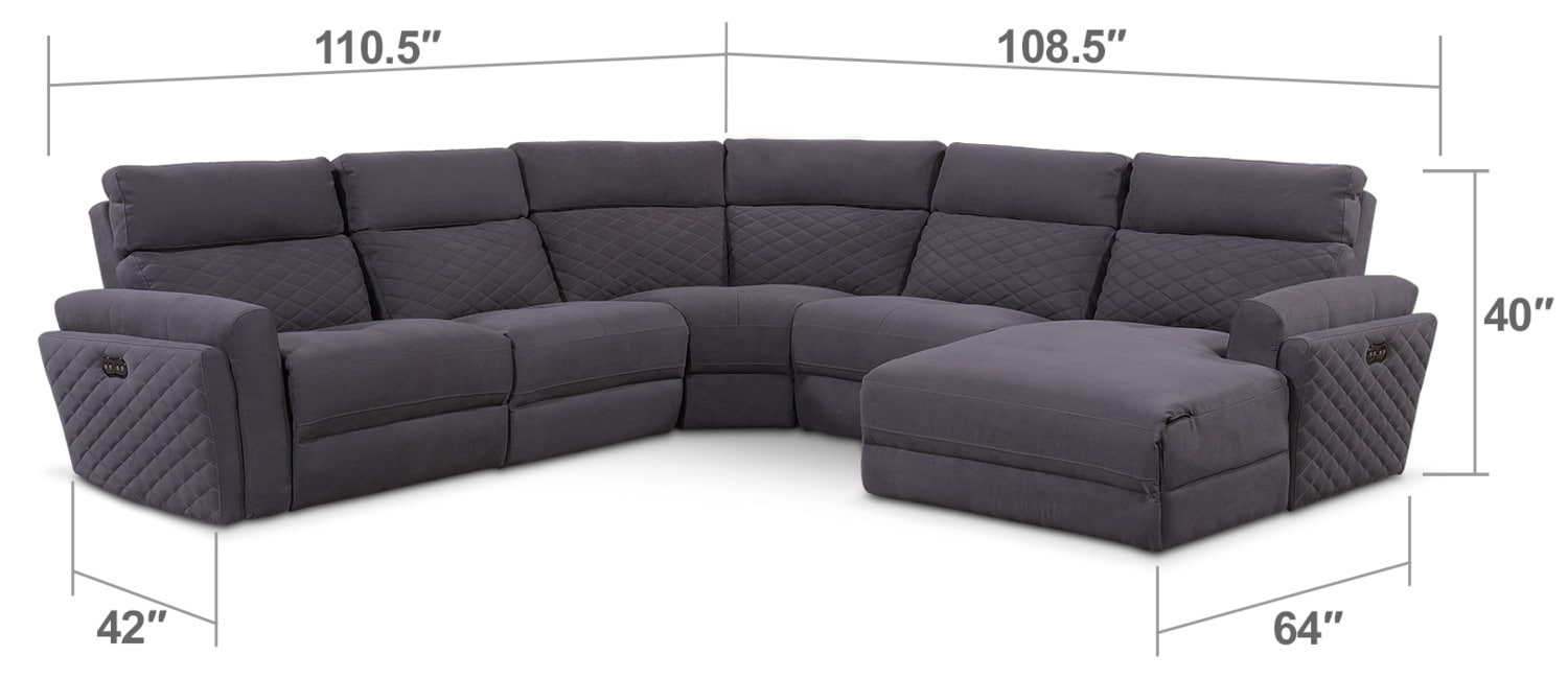 Living Room Furniture - Catalina 5-Piece Power Reclining Sectional with Right-Facing Chaise and Two Recliners - Gray
