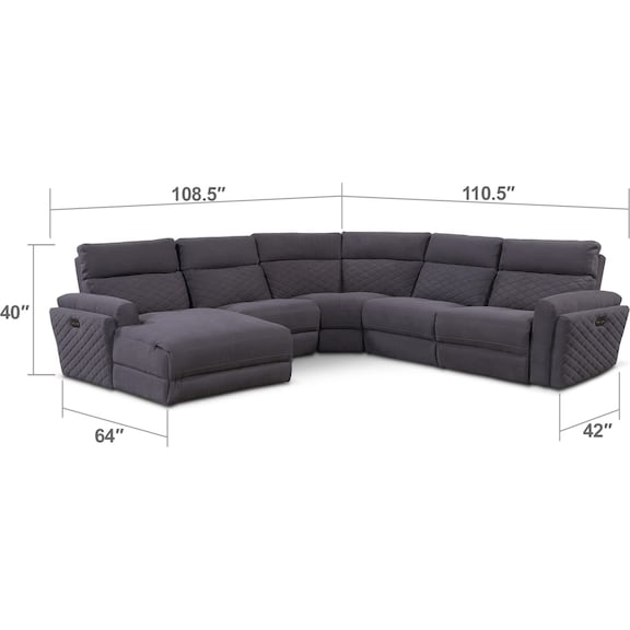 Living Room Furniture - Catalina 5-Piece Power Reclining Sectional with Left-Facing Chaise and 2 Recliners - Gray