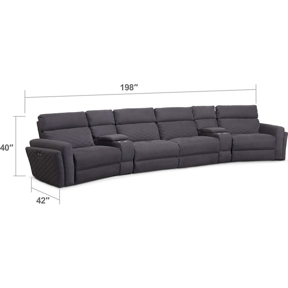 Living Room Furniture - Catalina 6-Piece Power Reclining Sectional with 2 Wedge Consoles - Gray